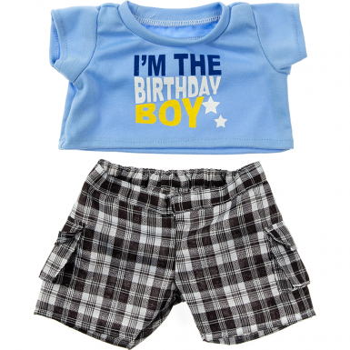 Birthday Boy T Shirt With Black Plaid Shorts 16 Outfit From Be My Bear