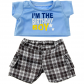 "Birthday Boy T-Shirt with Black Plaid Shorts 16"" Outfit"